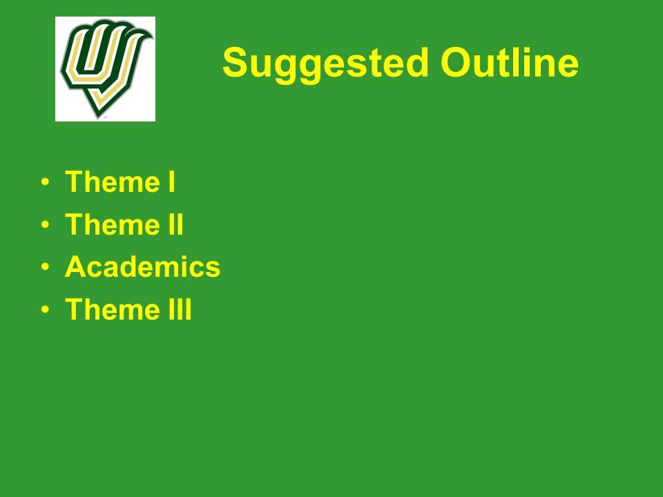 Suggested Outline Theme I Theme II Academics Theme III