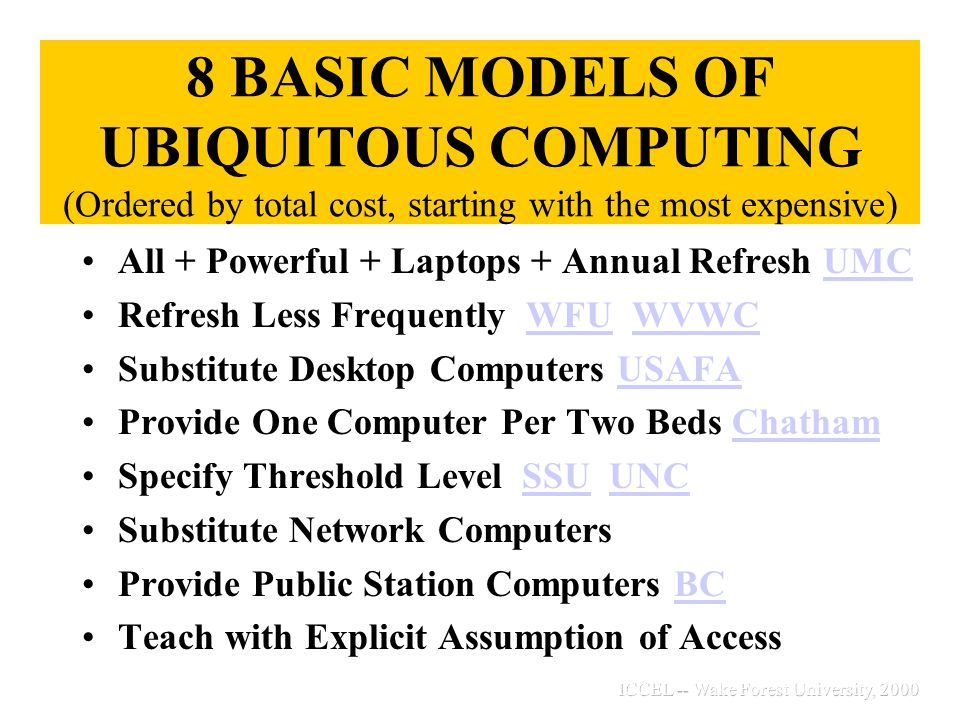 Distinctive Opportunities Available Only in Laptop Settings Quick exchange when machine is broken Fewer computer labs are needed Departmental clubs thrive Student Portfolios Emerge Students teach faculty Access to college continues after graduation