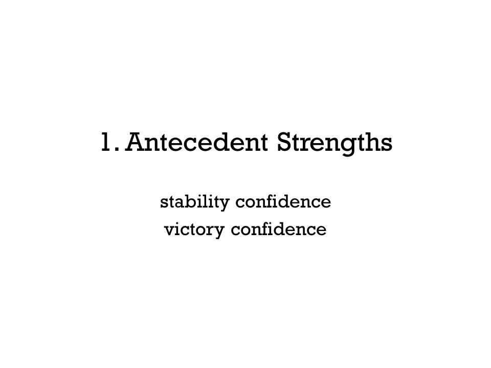 1. Antecedent Strengths stability confidence victory confidence
