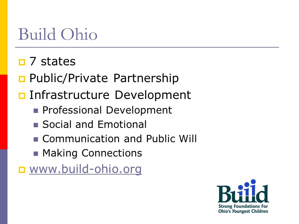 Build Ohio  7 states  Public/Private Partnership  Infrastructure Development Professional Development Social and Emotional Communication and Public Will Making Connections  www.build-ohio.org www.build-ohio.org