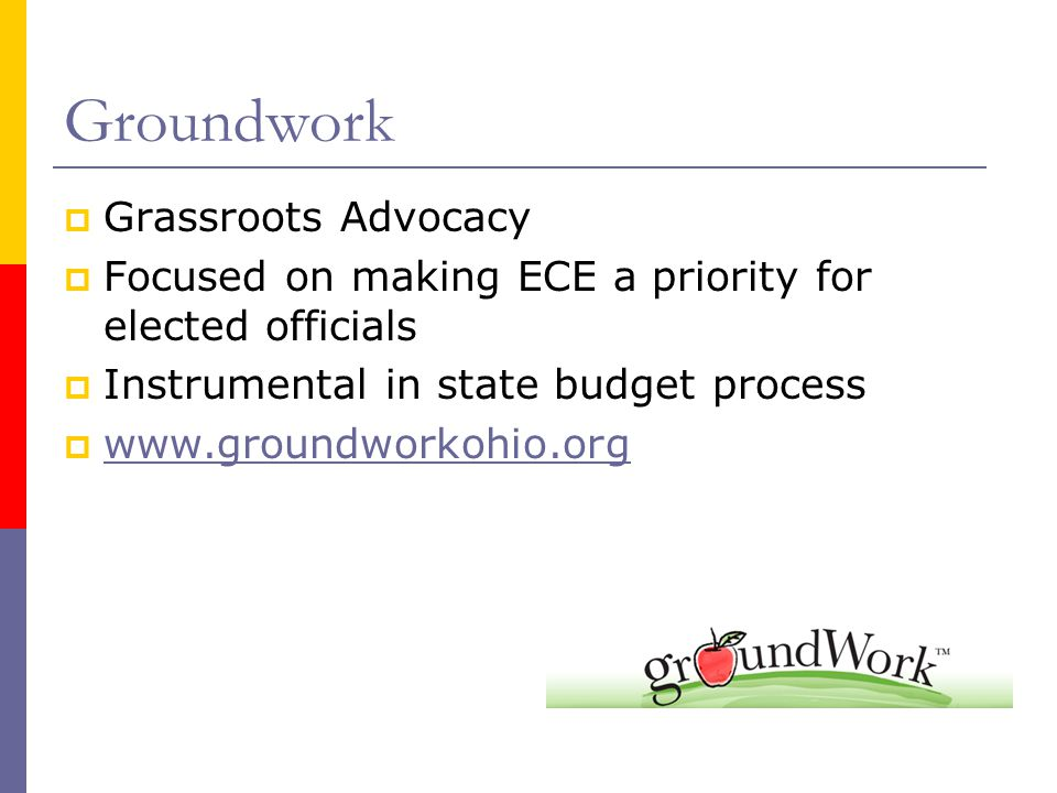 Groundwork  Grassroots Advocacy  Focused on making ECE a priority for elected officials  Instrumental in state budget process  www.groundworkohio.org www.groundworkohio.org
