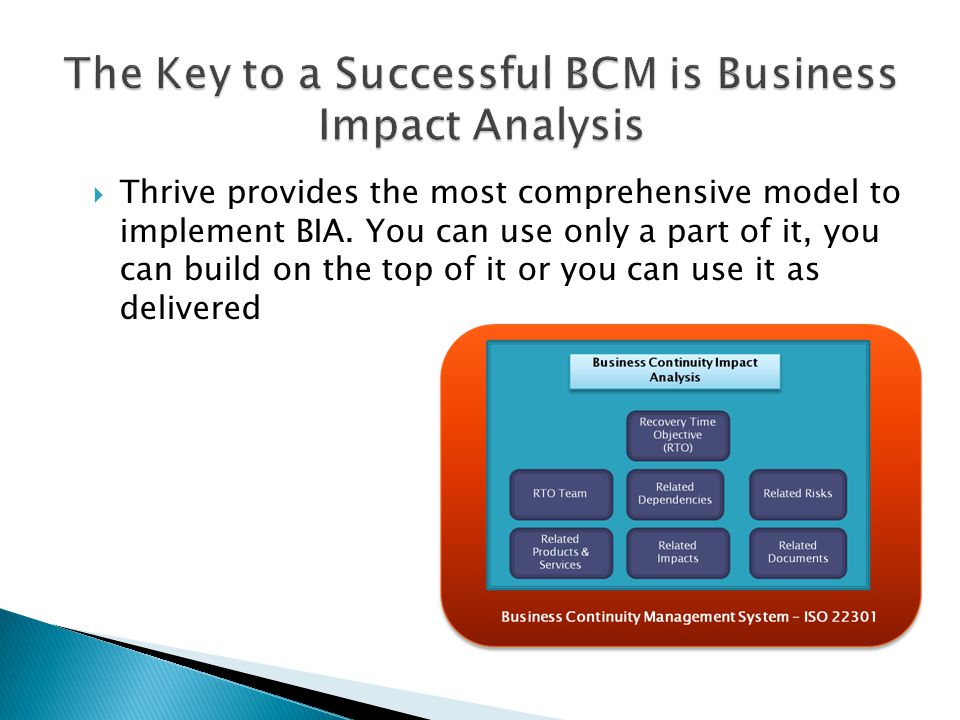  Thrive provides the most comprehensive model to implement BIA.