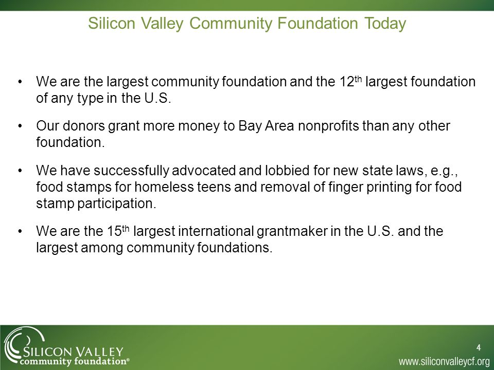 Community Foundations are Different from Private Foundations 5 1.SVCF can lobby in support or opposition to legislation.