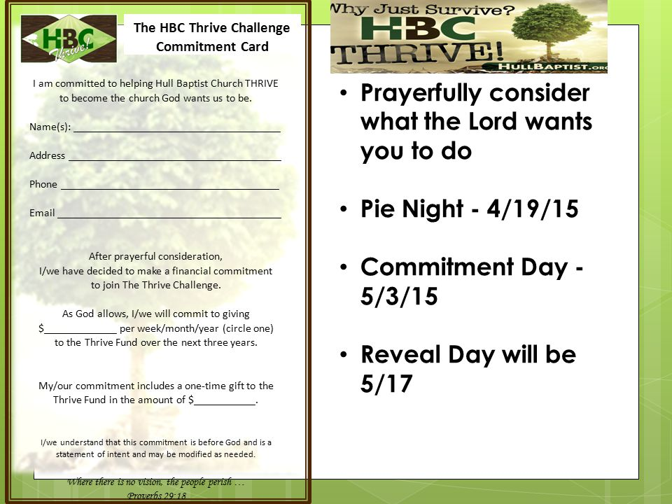 Prayerfully consider what the Lord wants you to do Pie Night - 4/19/15 Commitment Day - 5/3/15 Reveal Day will be 5/17 The HBC Thrive Challenge Commit