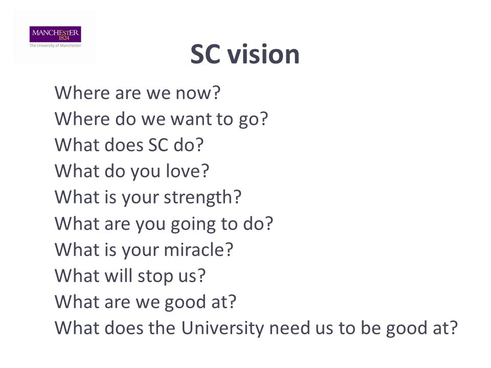 SC vision Where are we now. Where do we want to go.