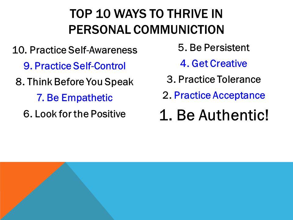 10. Practice Self-Awareness 9.Practice Self-Control 8.