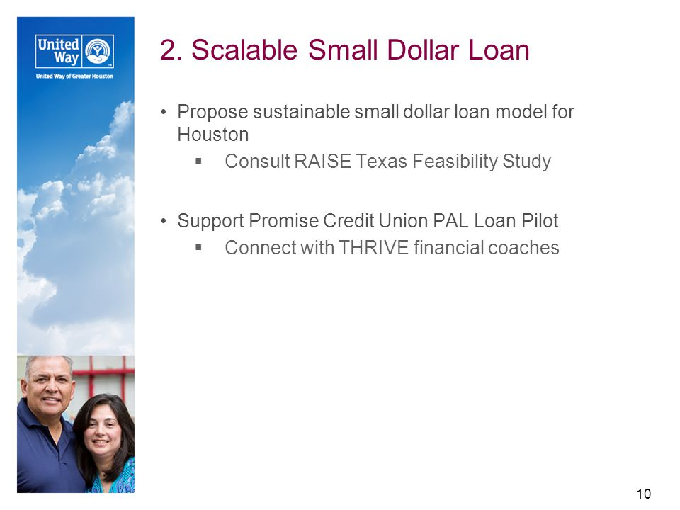2. Scalable Small Dollar Loan Propose sustainable small dollar loan model for Houston  Consult RAISE Texas Feasibility Study Support Promise Credit U