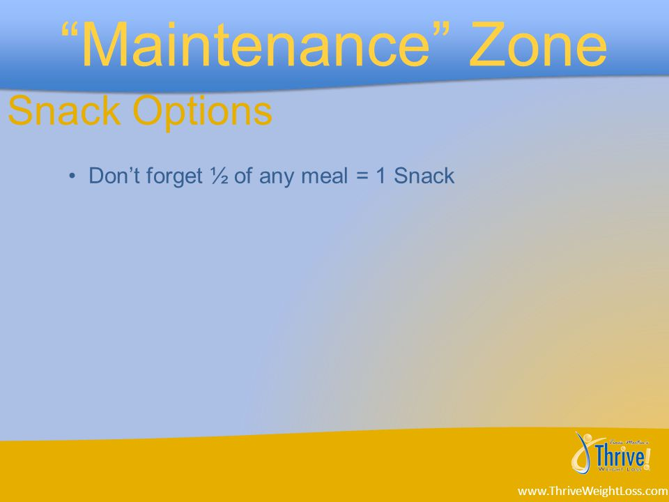 Don't forget ½ of any meal = 1 Snack Snack Options www.ThriveWeightLoss.com
