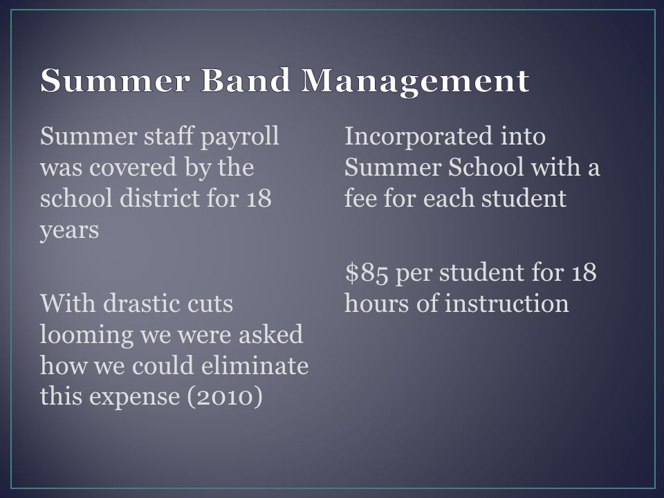 Summer staff payroll was covered by the school district for 18 years With drastic cuts looming we were asked how we could eliminate this expense (2010