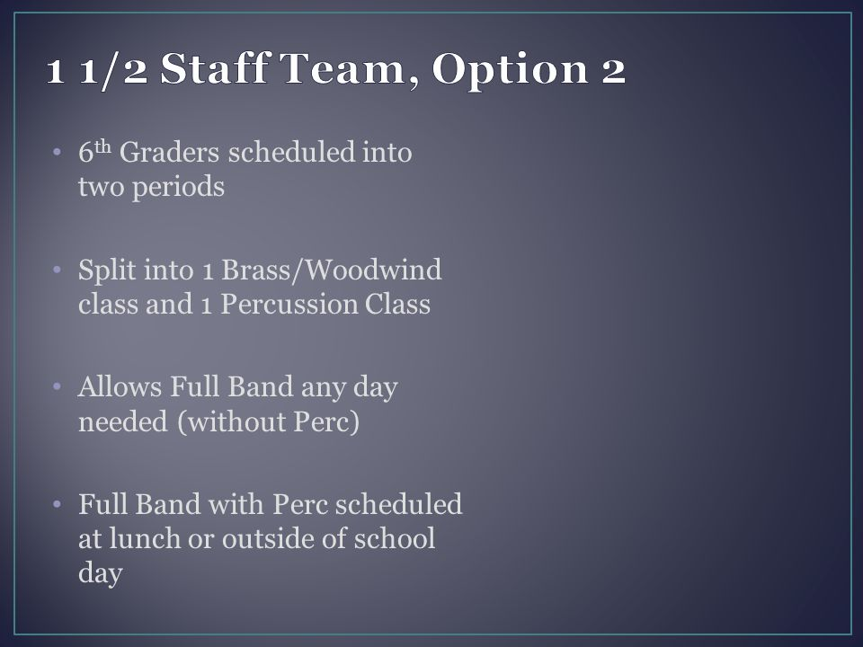6 th Graders scheduled into two periods Split into 1 Brass/Woodwind class and 1 Percussion Class Allows Full Band any day needed (without Perc) Full B