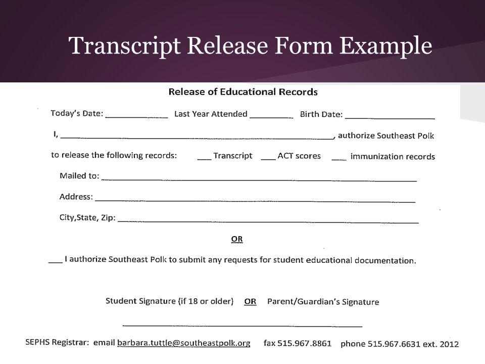 Transcript Release Form Example