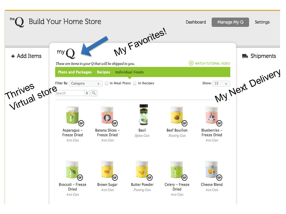 My Favorites! Thrives Virtual store My Next Delivery
