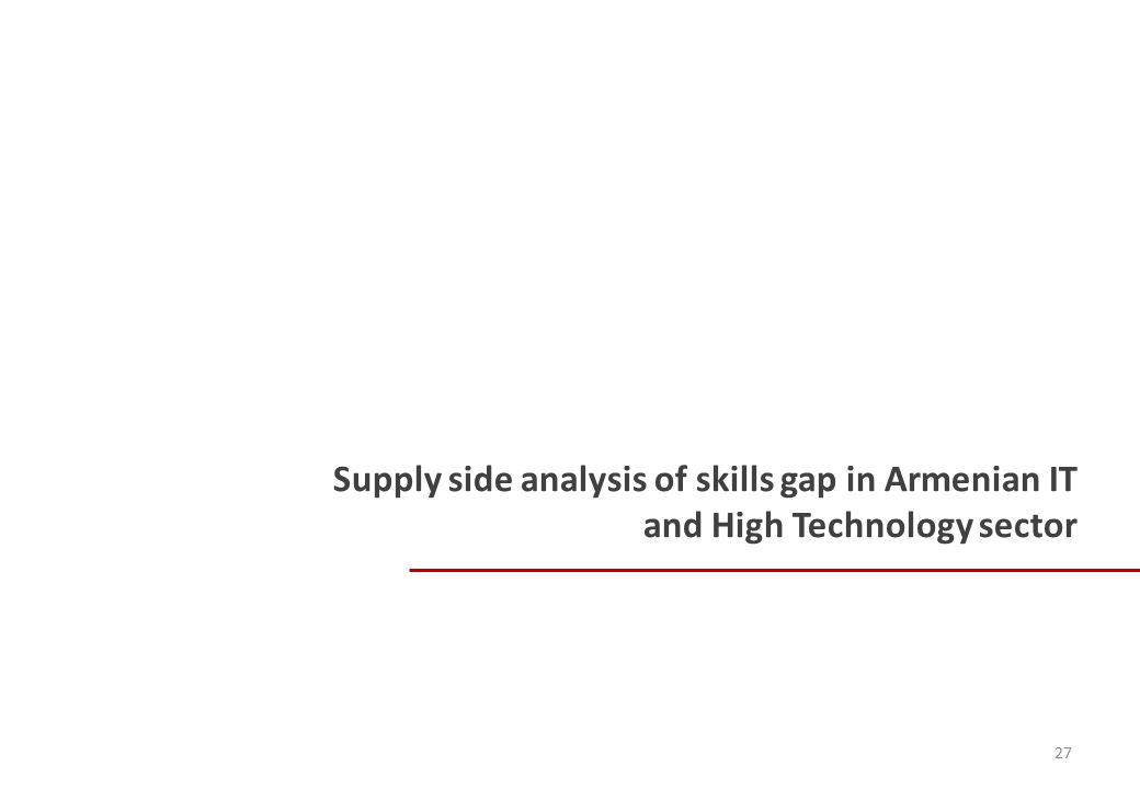 Supply side analysis of skills gap in Armenian IT and High Technology sector 27