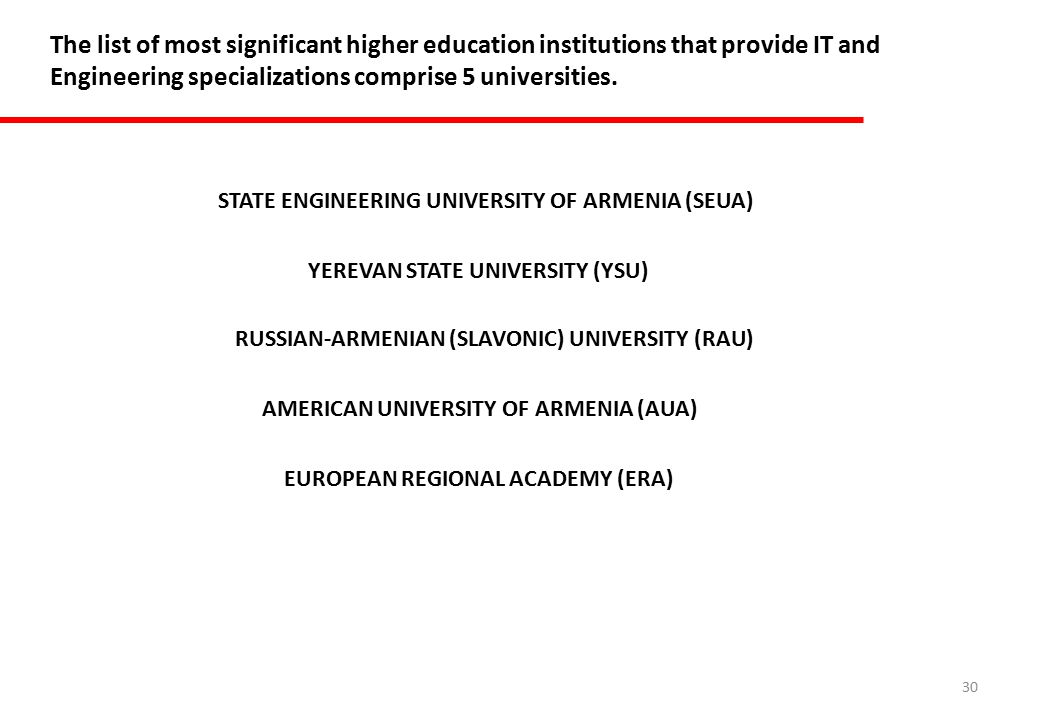 30 The list of most significant higher education institutions that provide IT and Engineering specializations comprise 5 universities.
