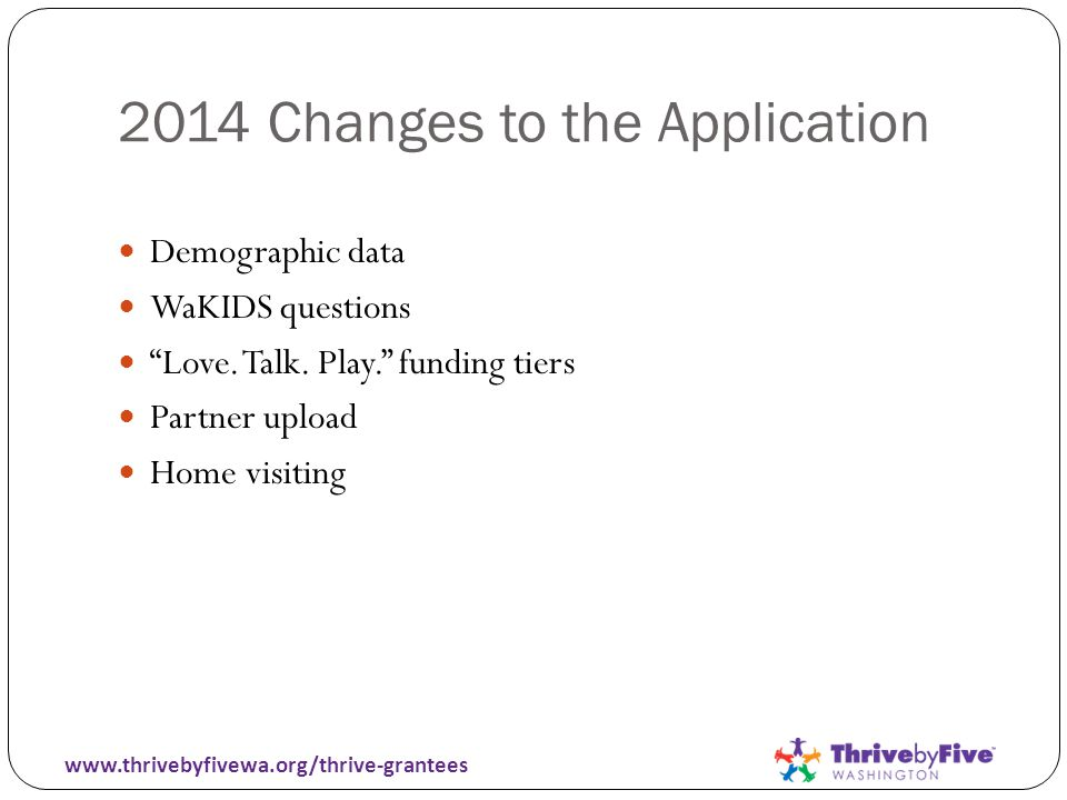 2014 Changes to the Application Demographic data WaKIDS questions Love.