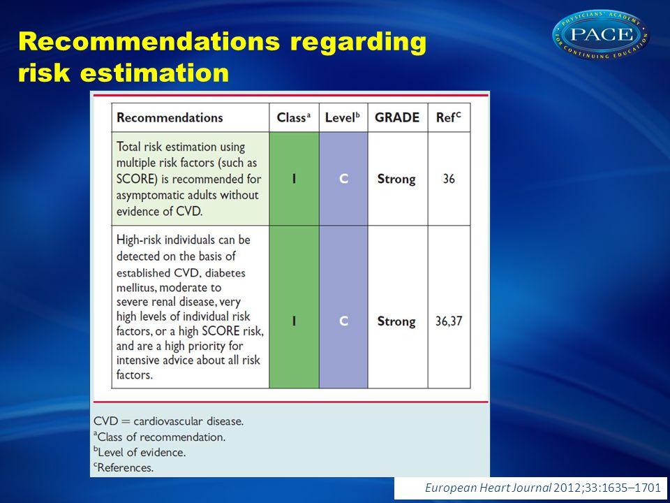 Recommendations regarding risk estimation European Heart Journal 2012;33:1635–1701