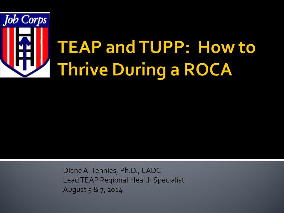 Diane A. Tennies, Ph.D., LADC Lead TEAP Regional Health Specialist August 5 & 7, 2014
