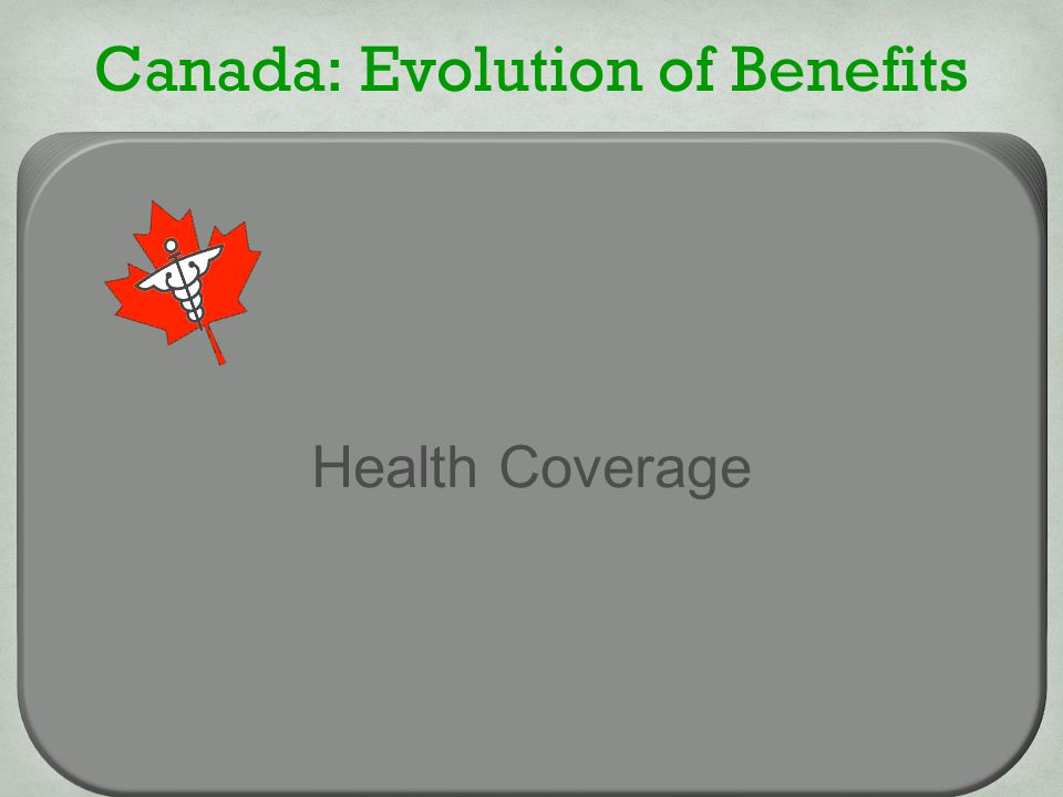 Canada: Evolution of Benefits Health Coverage Lab/Imaging Outpatient Rx Single Room Ambulance Chiropractic Mental Health Health Coverage