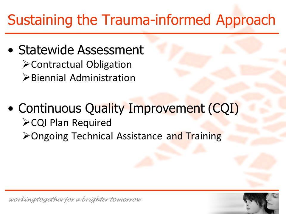 working together for a brighter tomorrow Sustaining the Trauma-informed Approach Statewide Assessment  Contractual Obligation  Biennial Administration Continuous Quality Improvement (CQI)  CQI Plan Required  Ongoing Technical Assistance and Training