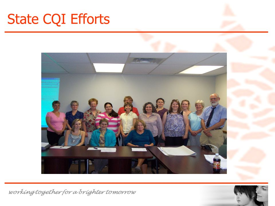 working together for a brighter tomorrow State CQI Efforts