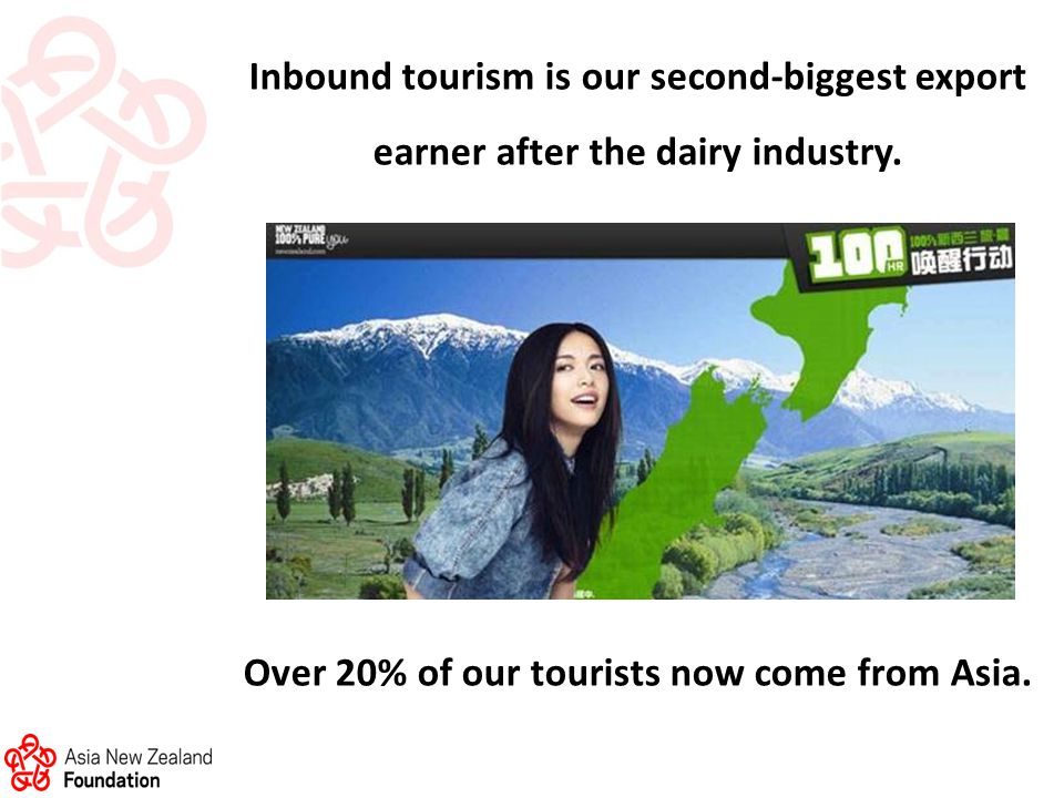 Inbound tourism is our second-biggest export earner after the dairy industry.