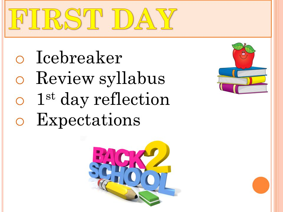 o Icebreaker o Review syllabus o 1 st day reflection o Expectations