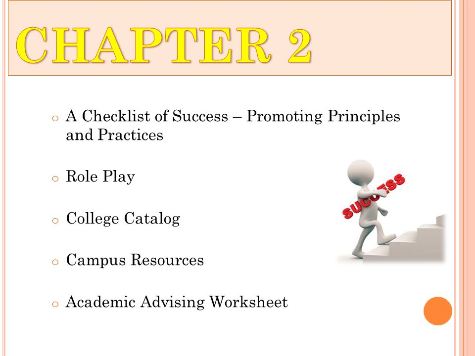 o A Checklist of Success – Promoting Principles and Practices o Role Play o College Catalog o Campus Resources o Academic Advising Worksheet