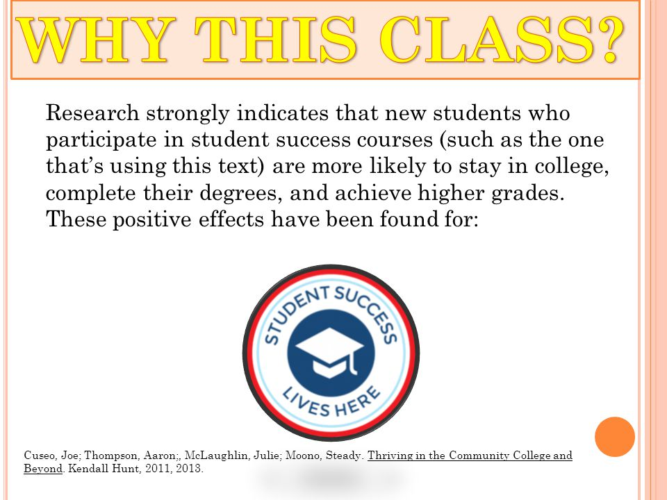 o Why this Class and Why College o Snapshot Summary 1.1 (p.