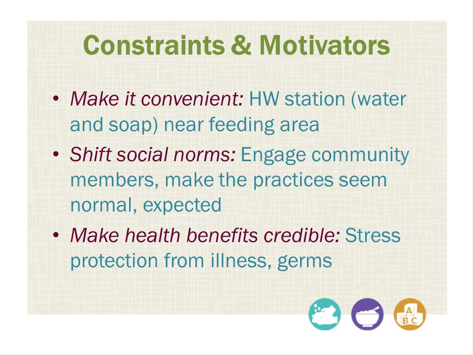 Constraints & Motivators Make it convenient: HW station (water and soap) near feeding area Shift social norms: Engage community members, make the prac