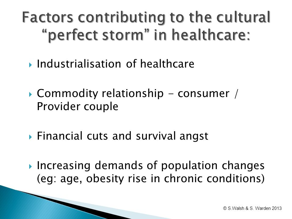  Industrialisation of healthcare  Commodity relationship - consumer / Provider couple  Financial cuts and survival angst  Increasing demands of po