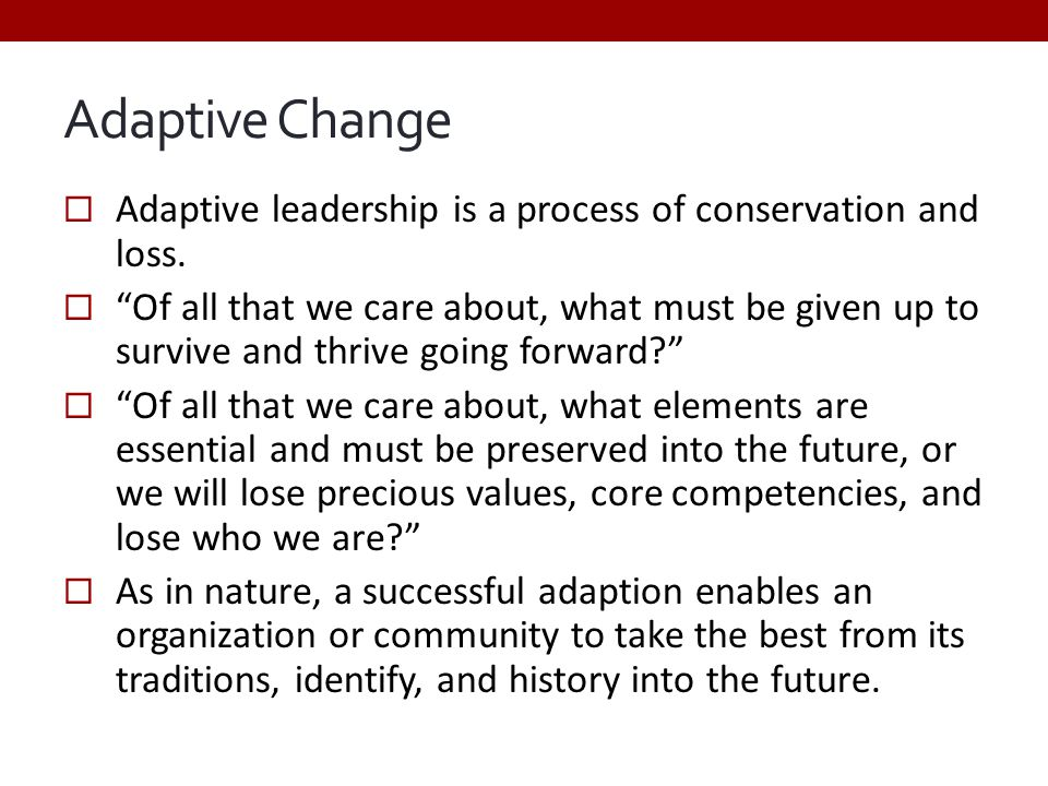 "Adaptive Change  Adaptive leadership is a process of conservation and loss.  ""Of all that we care about, what must be given up to survive and thrive"