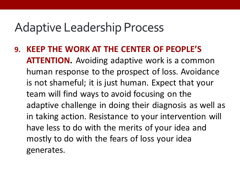 Adaptive Leadership Process 9. KEEP THE WORK AT THE CENTER OF PEOPLE'S ATTENTION. Avoiding adaptive work is a common human response to the prospect of