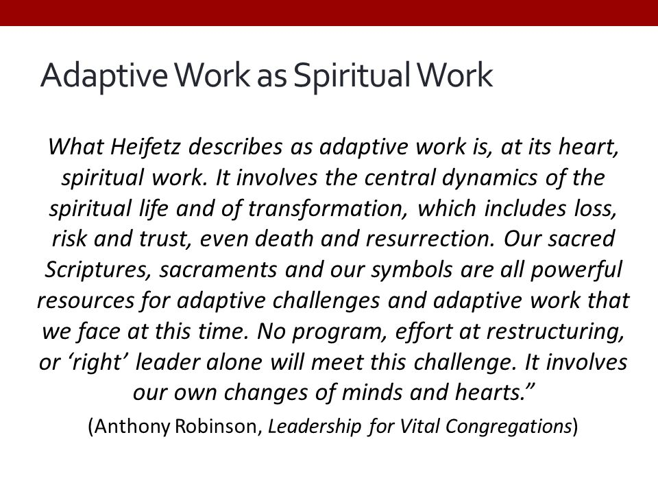 Adaptive Work as Spiritual Work What Heifetz describes as adaptive work is, at its heart, spiritual work. It involves the central dynamics of the spir