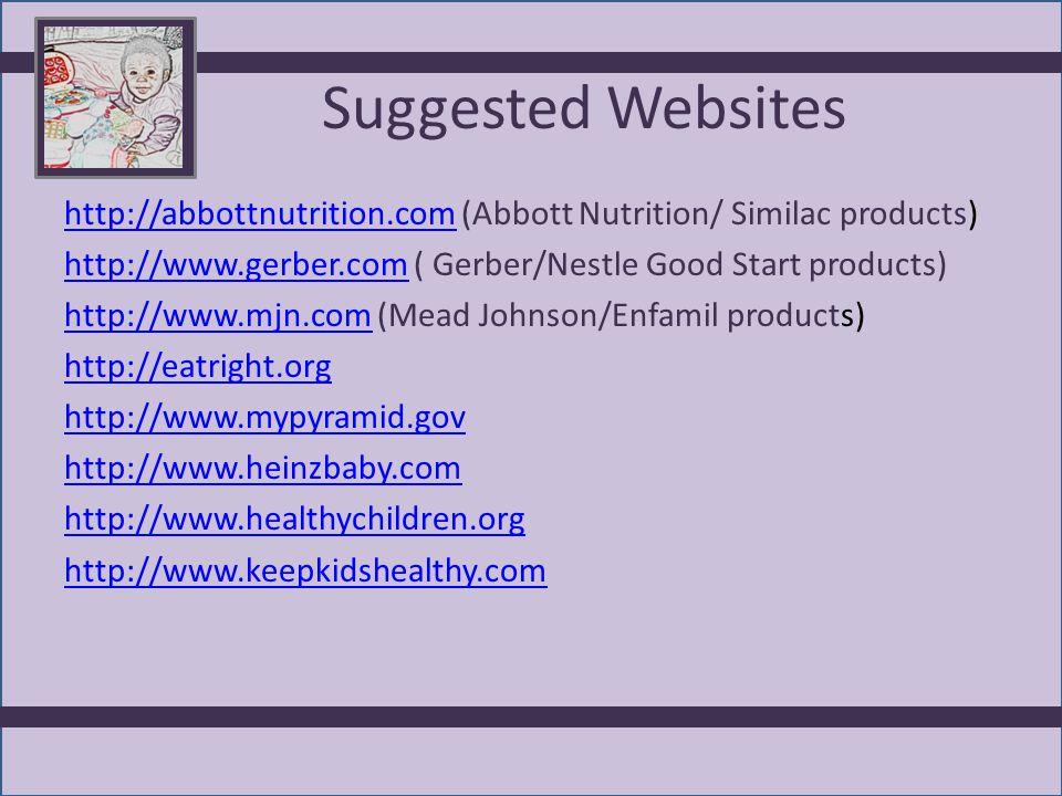 Suggested Websites http://abbottnutrition.comhttp://abbottnutrition.com (Abbott Nutrition/ Similac products) http://www.gerber.comhttp://www.gerber.com ( Gerber/Nestle Good Start products) http://www.mjn.comhttp://www.mjn.com (Mead Johnson/Enfamil products) http://eatright.org http://www.mypyramid.gov http://www.heinzbaby.com http://www.healthychildren.org http://www.keepkidshealthy.com