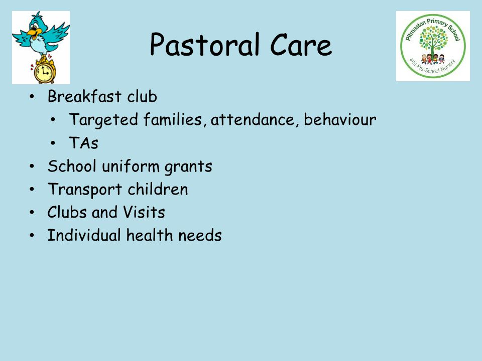 Pastoral Care Breakfast club Targeted families, attendance, behaviour TAs School uniform grants Transport children Clubs and Visits Individual health needs