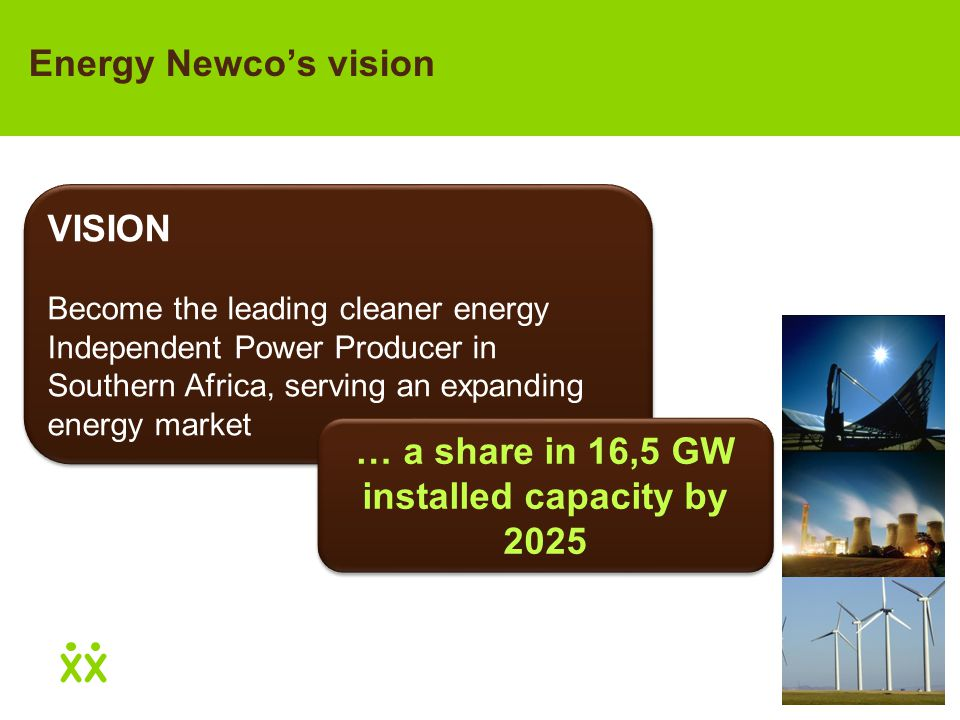 VISION Become the leading cleaner energy Independent Power Producer in Southern Africa, serving an expanding energy market VISION Become the leading cleaner energy Independent Power Producer in Southern Africa, serving an expanding energy market Energy Newco's vision … a share in 16,5 GW installed capacity by 2025
