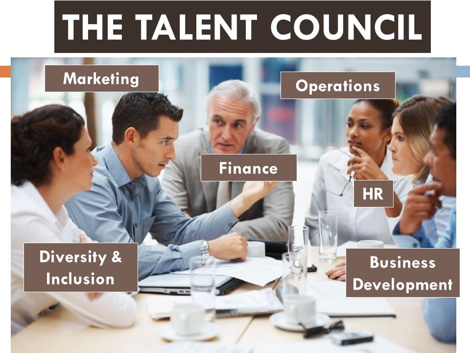 Marketing Finance HR Operations Business Development Diversity & Inclusion THE TALENT COUNCIL