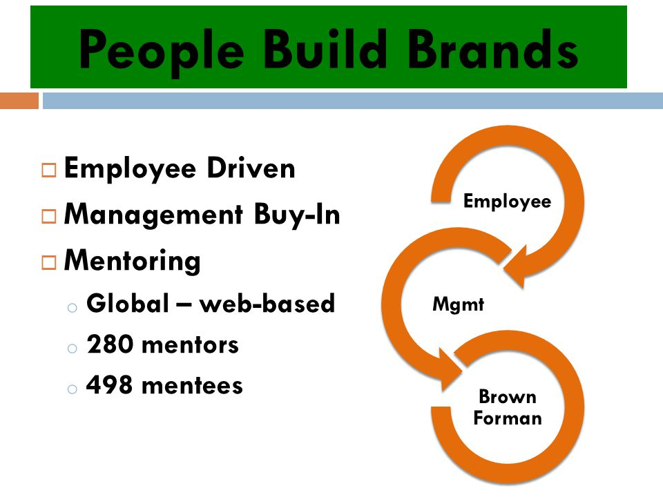  Employee Driven  Management Buy-In  Mentoring o Global – web-based o 280 mentors o 498 mentees People Build Brands Employee Mgmt Brown Forman