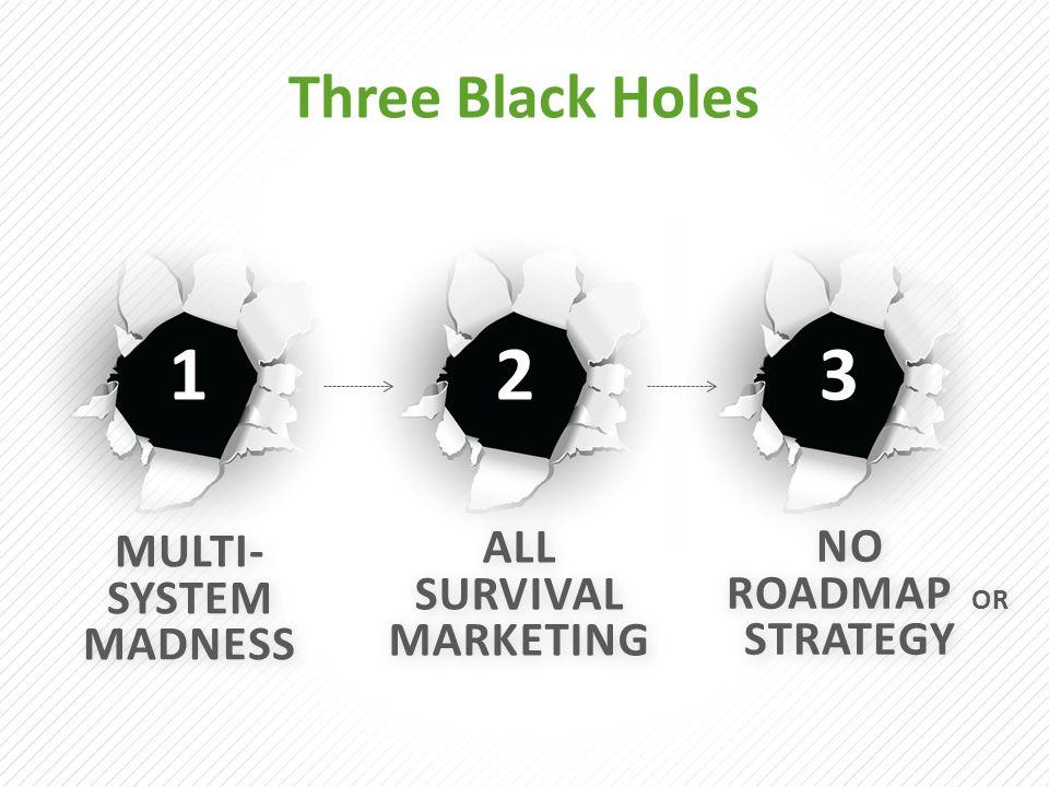 NO ROADMAP OR STRATEGY NO ROADMAP OR STRATEGY ALL SURVIVAL MARKETING MULTI- SYSTEM MADNESS Three Black Holes 123