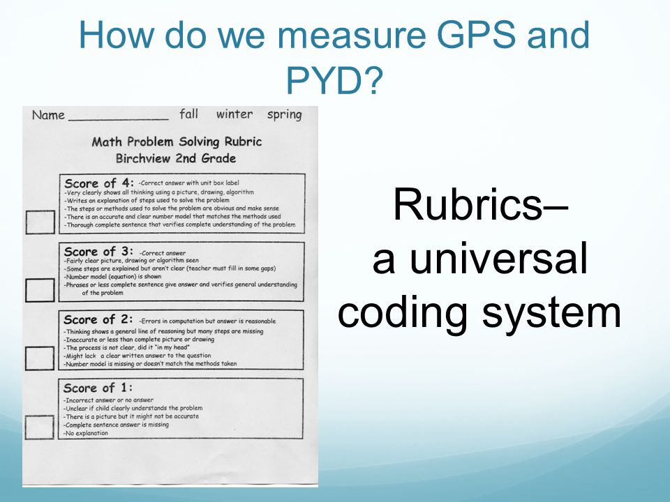 How do we measure GPS and PYD Rubrics– a universal coding system