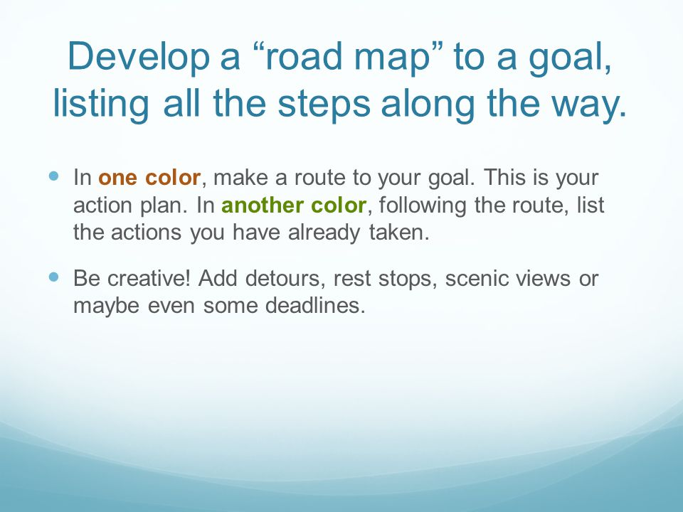 Develop a road map to a goal, listing all the steps along the way.