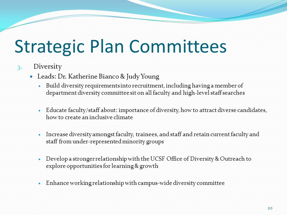 Strategic Plan Committees 3. Diversity Leads: Dr. Katherine Bianco & Judy Young Build diversity requirements into recruitment, including having a memb