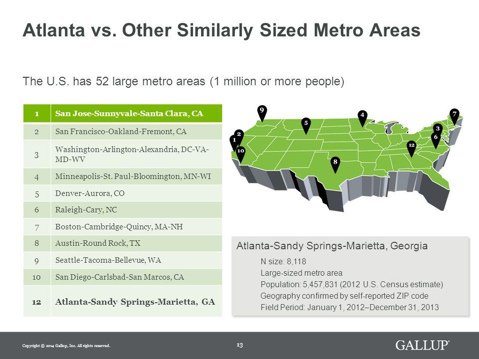 13 Atlanta vs. Other Similarly Sized Metro Areas The U.S.