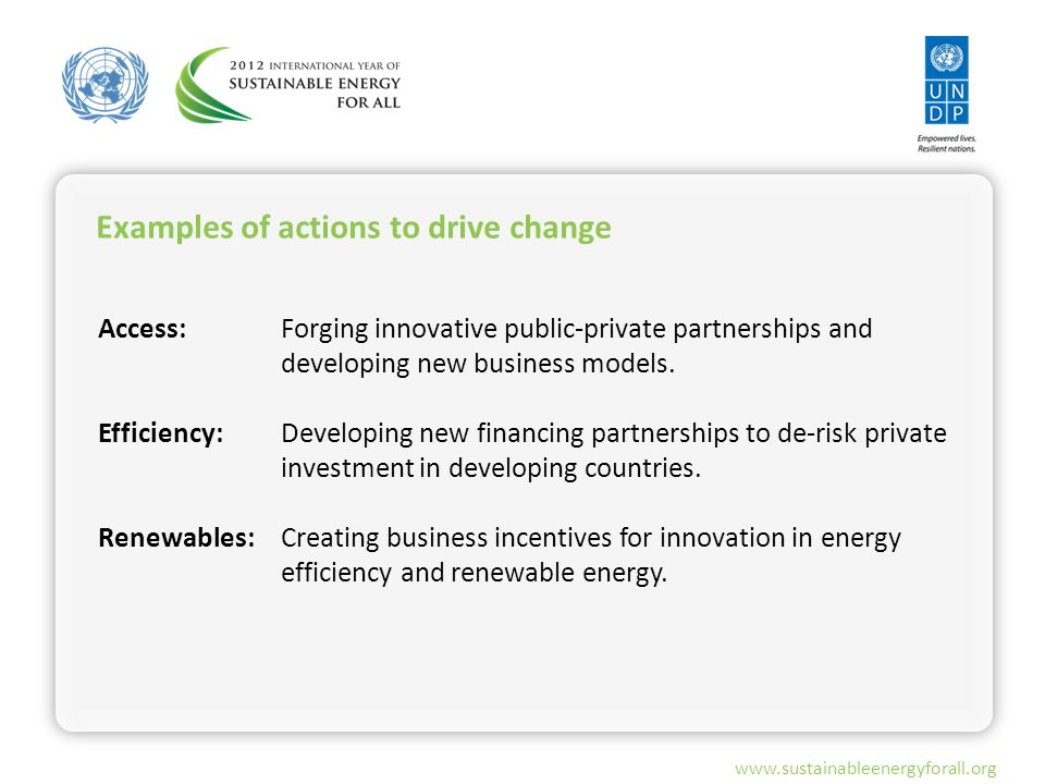 www.sustainableenergyforall.org Examples of actions to drive change Access: Efficiency: Renewables: Forging innovative public-private partnerships and developing new business models.