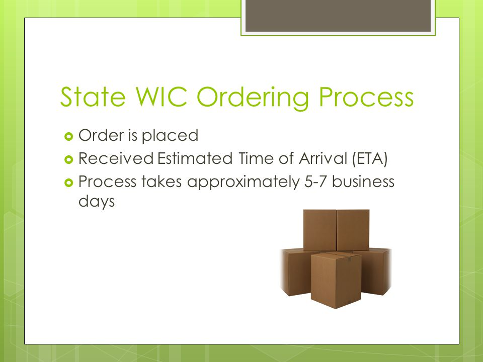 State WIC Ordering Process  Order is placed  Received Estimated Time of Arrival (ETA)  Process takes approximately 5-7 business days