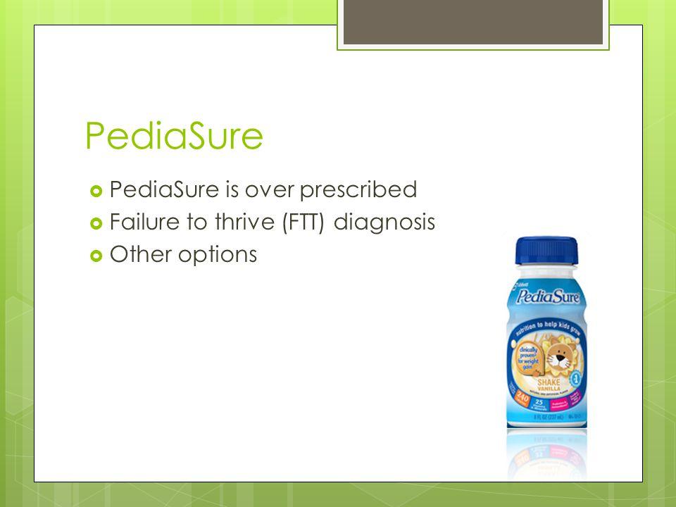 PediaSure  PediaSure is over prescribed  Failure to thrive (FTT) diagnosis  Other options