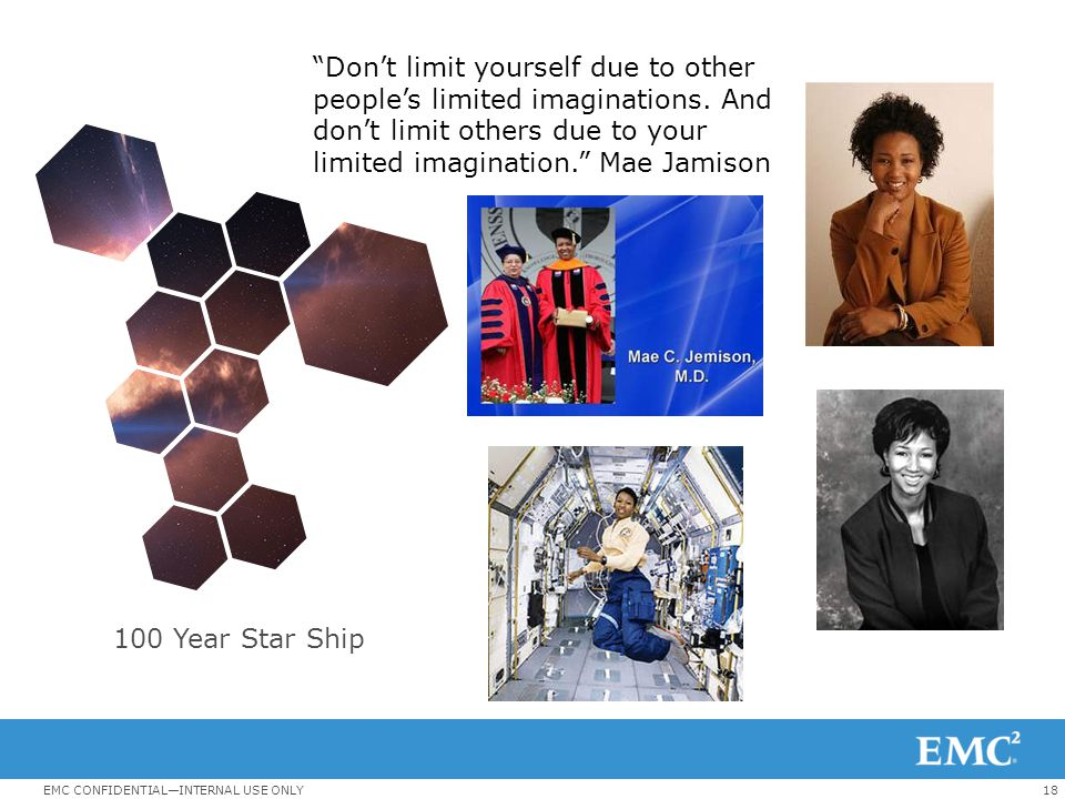 18EMC CONFIDENTIAL—INTERNAL USE ONLY Don't limit yourself due to other people's limited imaginations.