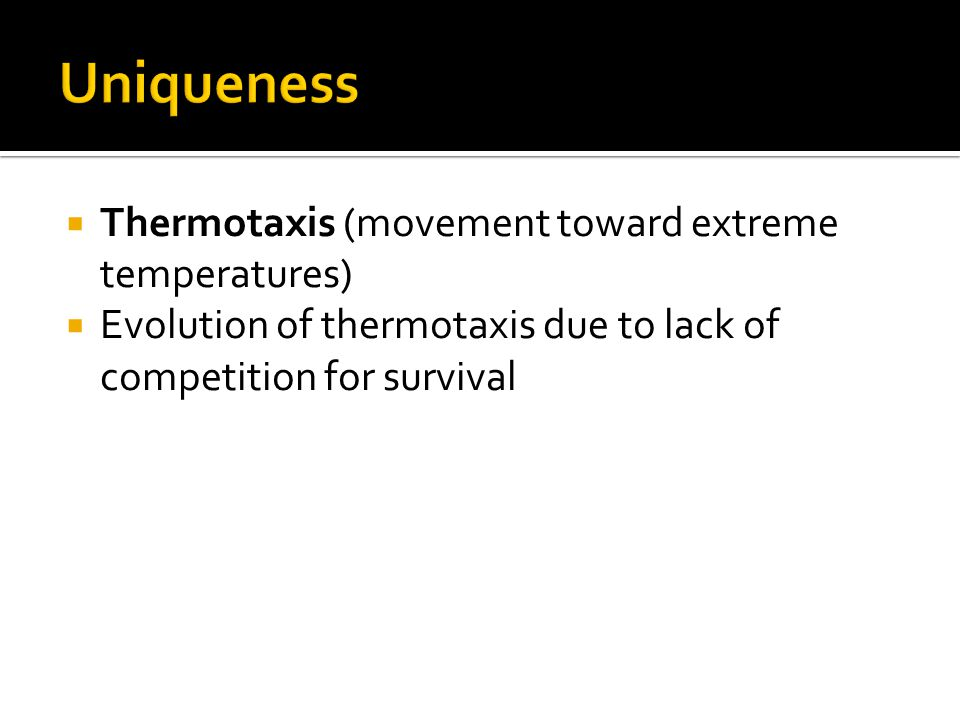  Thermotaxis (movement toward extreme temperatures)  Evolution of thermotaxis due to lack of competition for survival