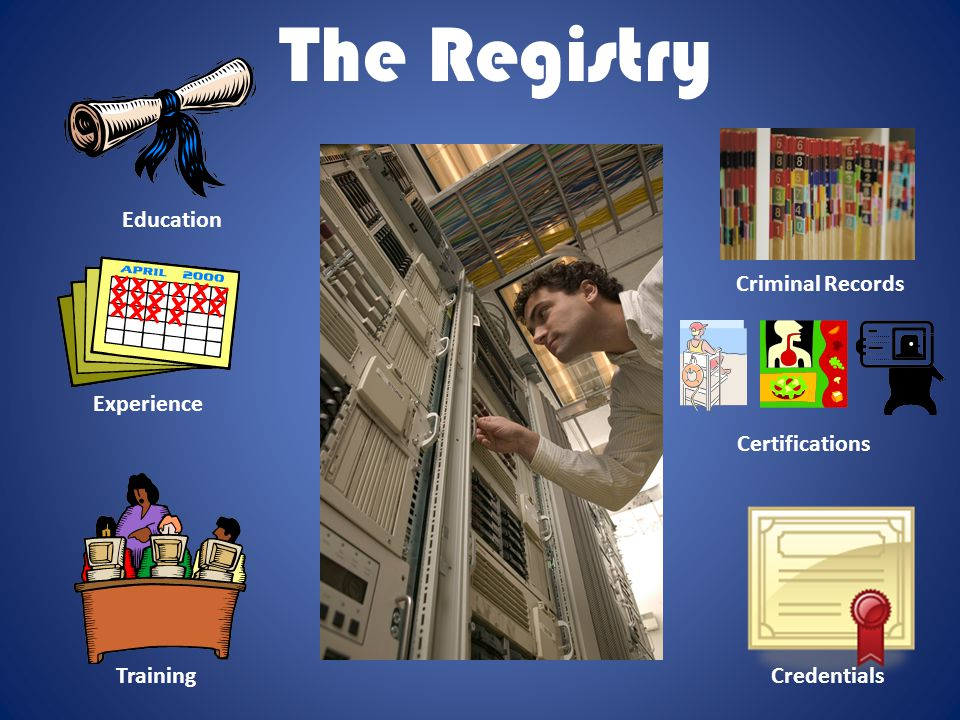 The Registry Education Training Criminal Records Credentials Experience Certifications