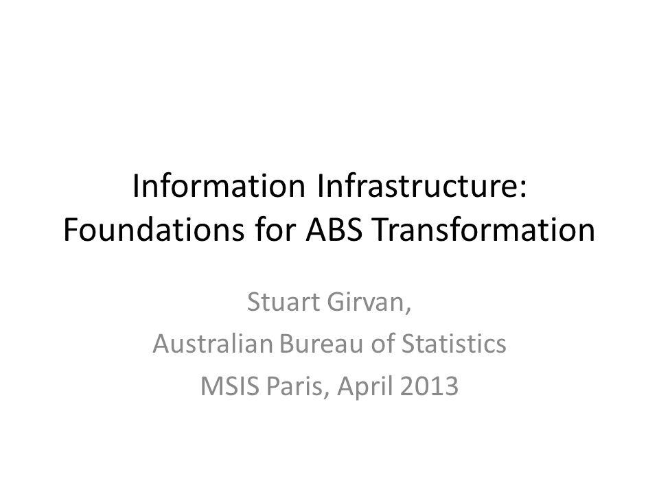 Information Infrastructure: Foundations for ABS Transformation Stuart Girvan, Australian Bureau of Statistics MSIS Paris, April 2013